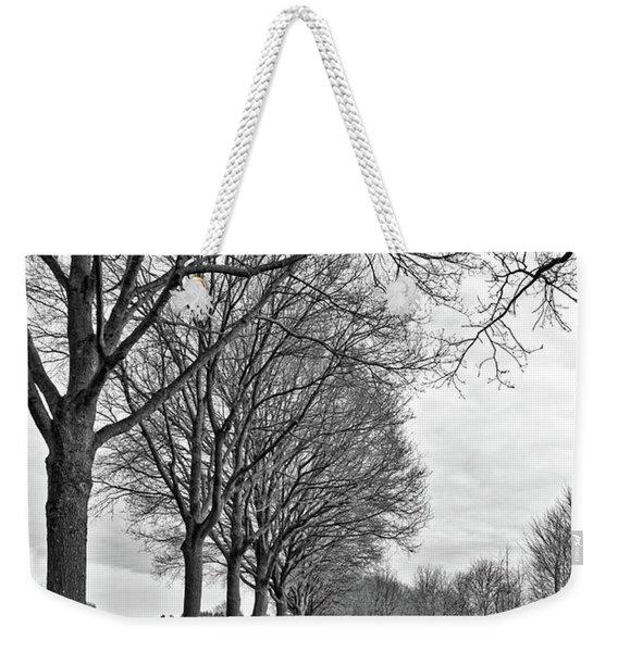 Dutch Road In Winter Black And White Weekender Tote Bag