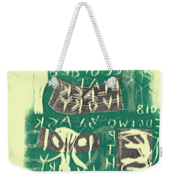 E Cd Grey And Green Weekender Tote Bag