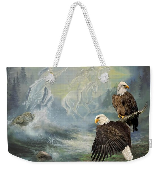Eagels And Native American  Spirit Riders Weekender Tote Bag