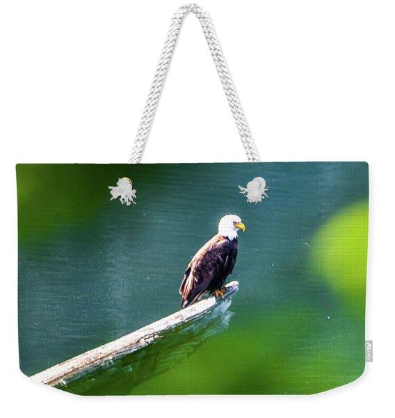 Eagle In Lake Weekender Tote Bag
