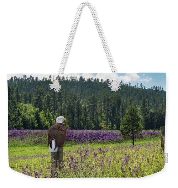Eagle On Fence Post Weekender Tote Bag