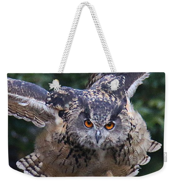 Weekender Tote Bag featuring the photograph Eagle Owl Close Up by William Selander
