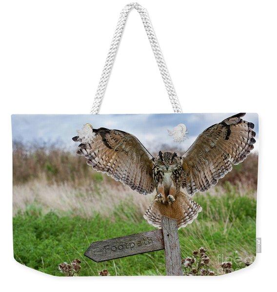 Eagle Owl On Signpost Weekender Tote Bag
