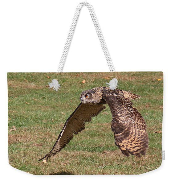 Weekender Tote Bag featuring the photograph Eagle Owl On The Hunt 1 by William Selander