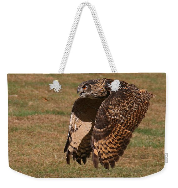 Weekender Tote Bag featuring the photograph Eagle Owl On The Hunt 2 by William Selander
