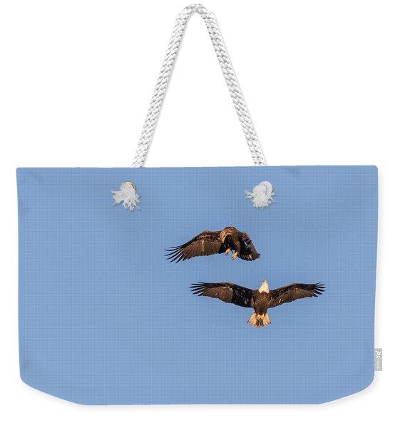 Eagles Dancing In Air Weekender Tote Bag