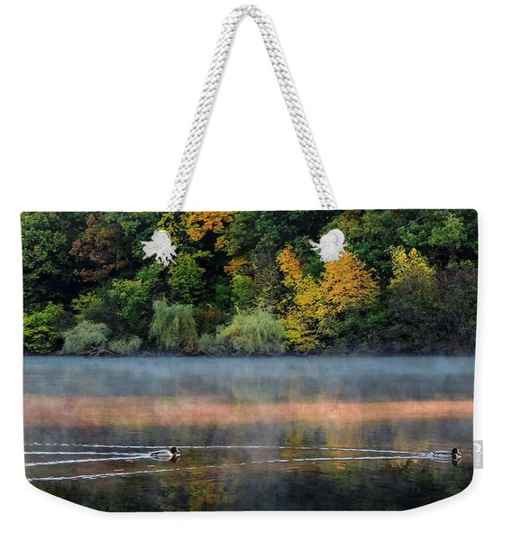 Early Autumn Morning At Longfellow Pond Weekender Tote Bag