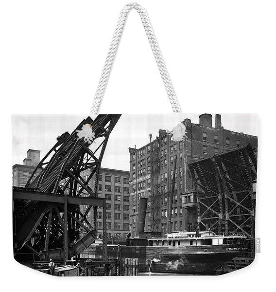 Early Chicago River Jackknife Bridge 1905 Weekender Tote Bag
