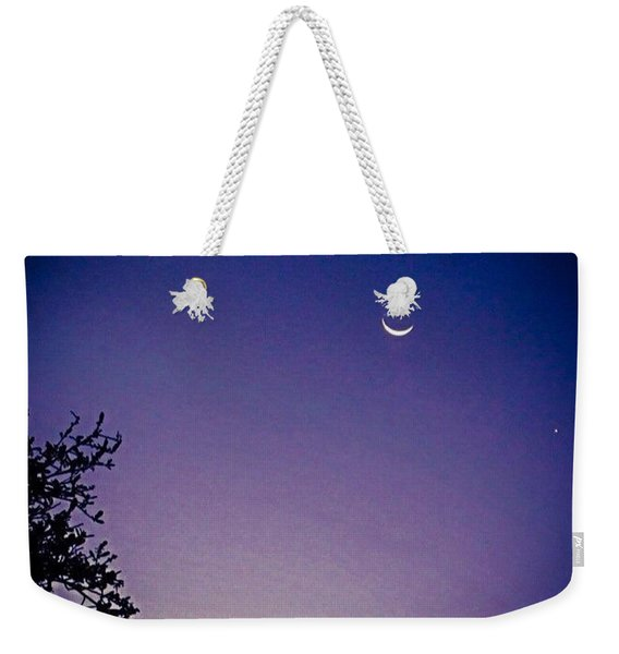 Early #evening #waxingcrescentmoon And Weekender Tote Bag