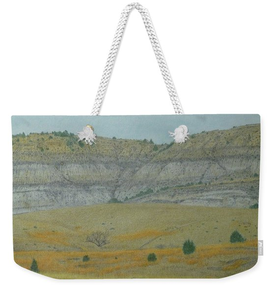 Weekender Tote Bag featuring the pastel Early May On The Western Edge by Cris Fulton