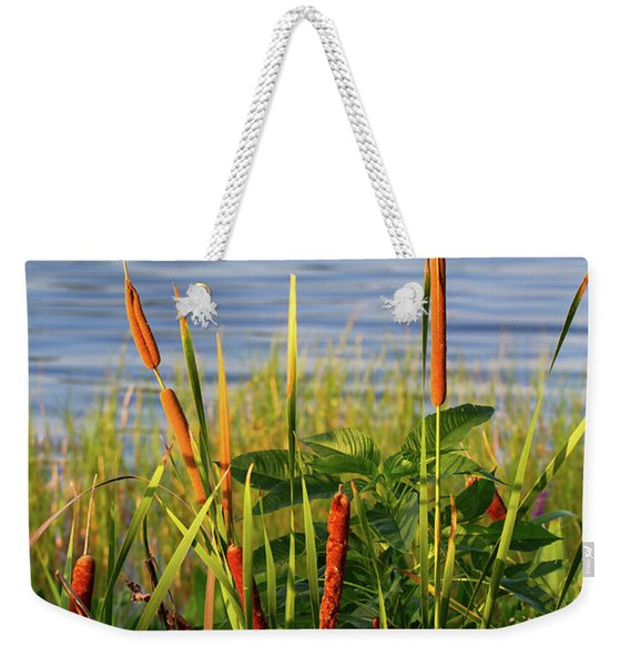 Early Morning Cattails Weekender Tote Bag