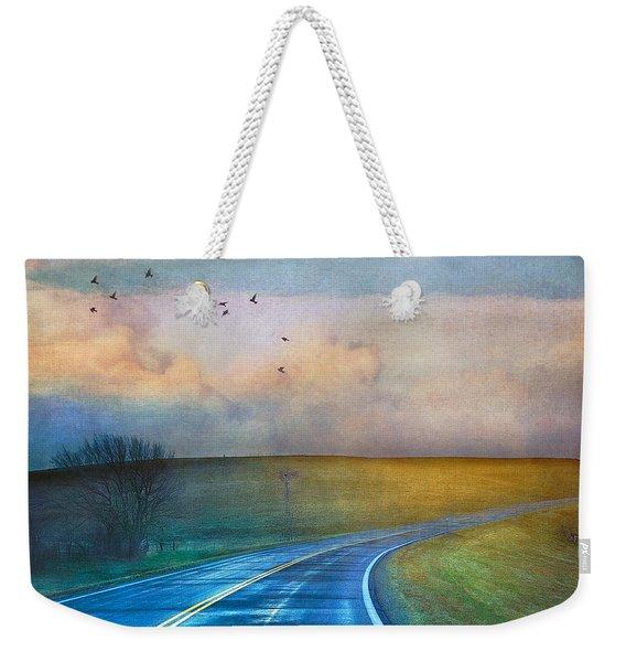 Early Morning Kansas Two-lane Highway Weekender Tote Bag