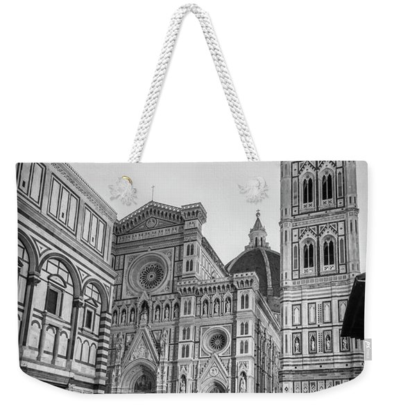 Early Morning Piazza Del Duomo Florence Italy Bw Weekender Tote Bag