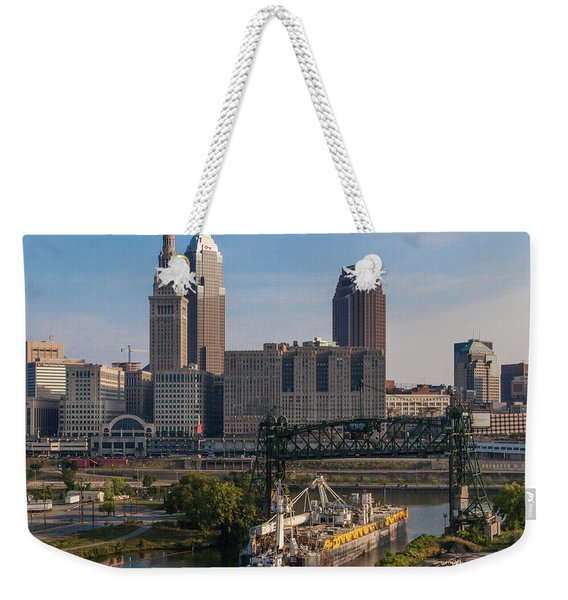 Early Morning Transport On The Cuyahoga River Weekender Tote Bag