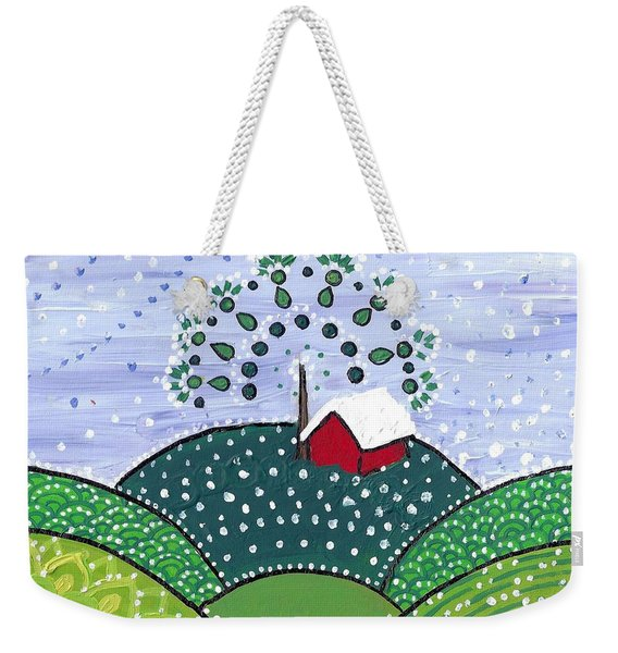 Early Snow On The Little Red Barn Weekender Tote Bag