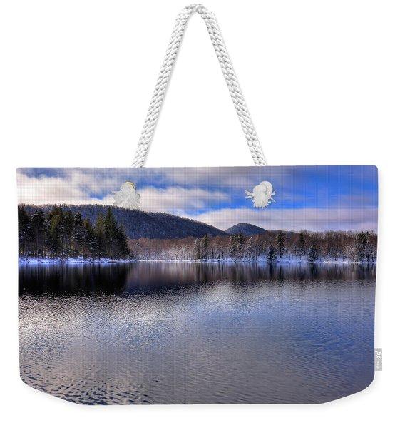 Early Snow On West Lake Weekender Tote Bag