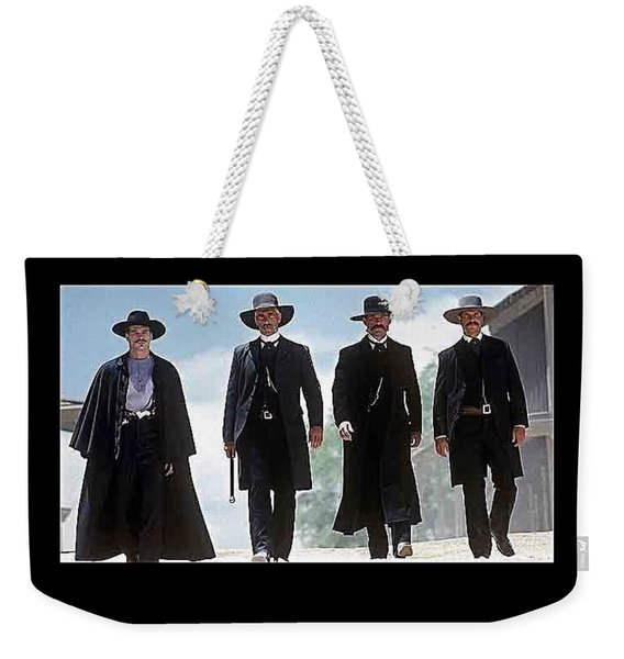 Earp Brothers And Doc Holliday Approaching O.k. Corral Tombstone Movie Mescal Az 1993-2015 Weekender Tote Bag