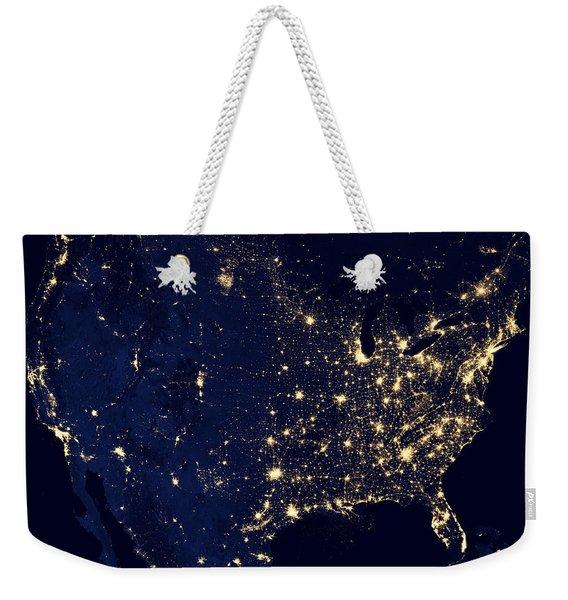 Earth At Night Weekender Tote Bag