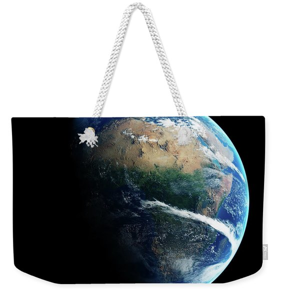 Earth Day And Night Space View Weekender Tote Bag