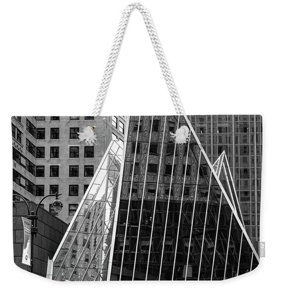 Weekender Tote Bag featuring the photograph East 42nd Street, New York City  -17663-bw by John Bald