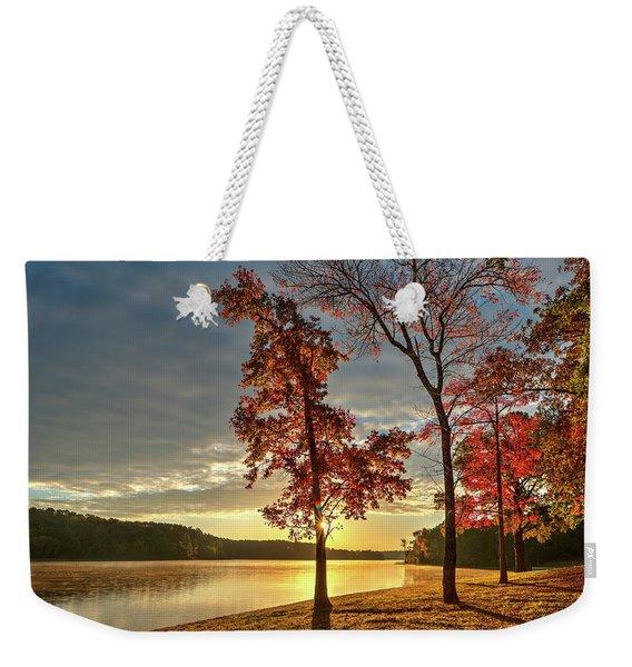 East Texas Autumn Sunrise At The Lake Weekender Tote Bag