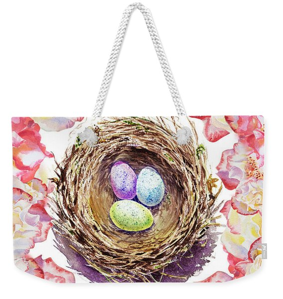 Easter Nest And Roses Weekender Tote Bag