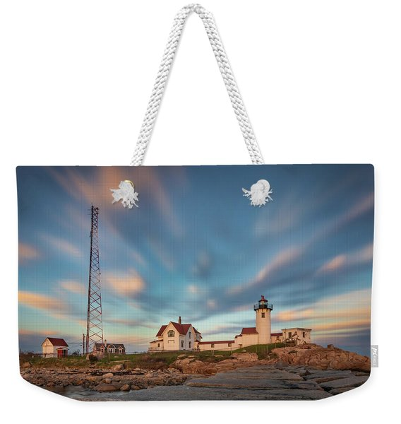 Eastern Point Lighthouse At Sunset Weekender Tote Bag