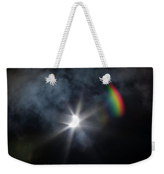 Solar Eclipse 2017 And Rainbow Weekender Tote Bag