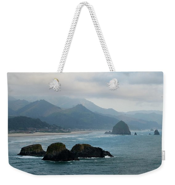 Ecola State Park View Of Haystack Rock And 3 Arch Rocks Weekender Tote Bag