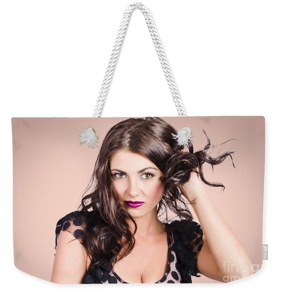 Edgy Hair Fashion Model With Brunette Hairstyle Weekender Tote Bag