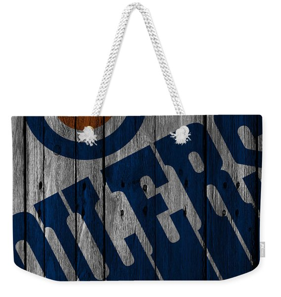 Edmonton Oilers Wood Fence Weekender Tote Bag