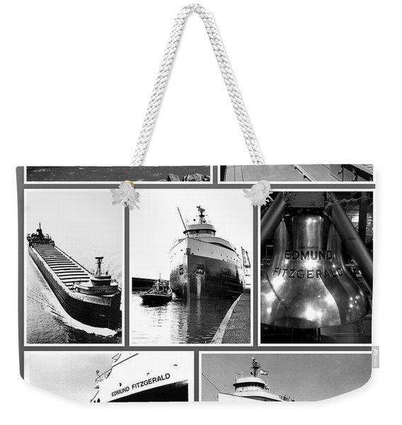 Edmund Fitzgerald Black And White Weekender Tote Bag