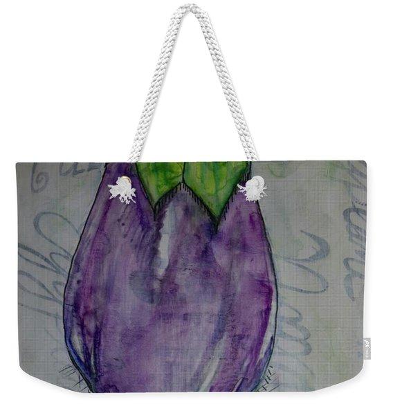 Eggplant Typography Weekender Tote Bag