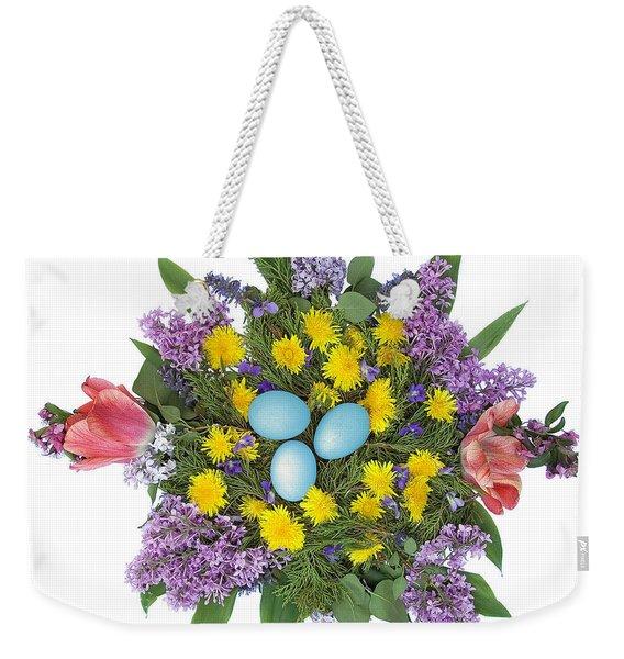 Eggs In Dandelions, Lilacs, Violets And Tulips Weekender Tote Bag