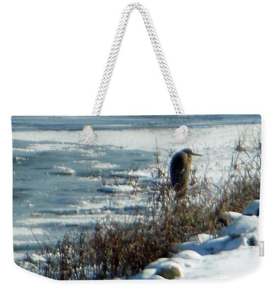 Egret Frozen Lake Weekender Tote Bag