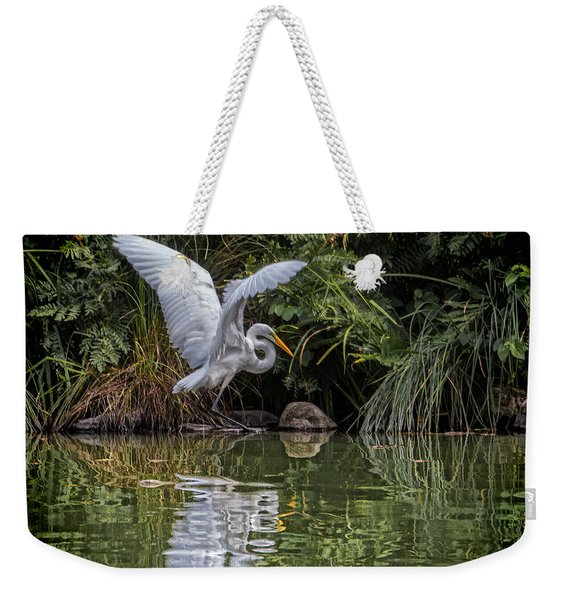 Egret Hunting For Lunch Weekender Tote Bag