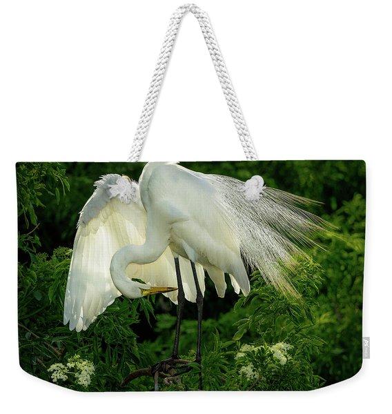 Egret Preening Weekender Tote Bag