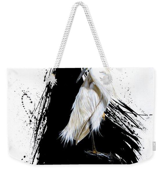 Weekender Tote Bag featuring the painting Egret by Sandi Baker