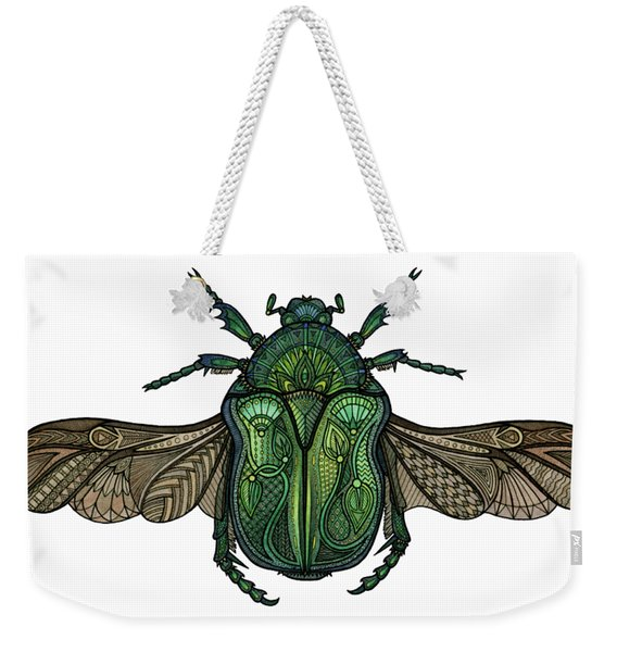 Weekender Tote Bag featuring the drawing Egyptian Scarab by ZH Field
