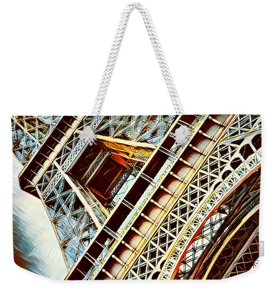 Paris Eiffel Tower In Blue Weekender Tote Bag