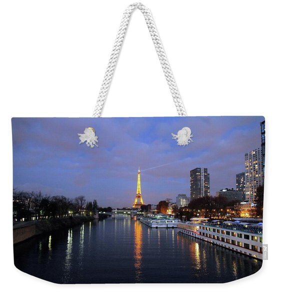 Eiffel Tower Over The Seine Weekender Tote Bag