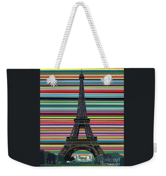 Weekender Tote Bag featuring the painting Eiffel Tower With Lines by Carla Bank