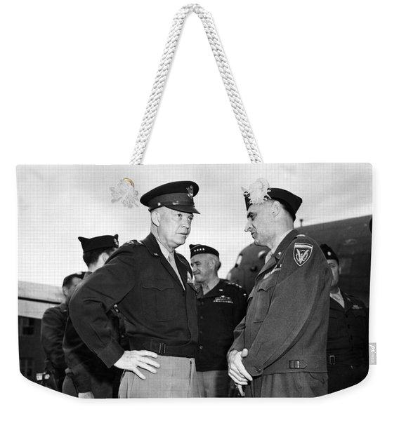 Eisenhower And General Lucius Clay - Berlin - 1945 Weekender Tote Bag