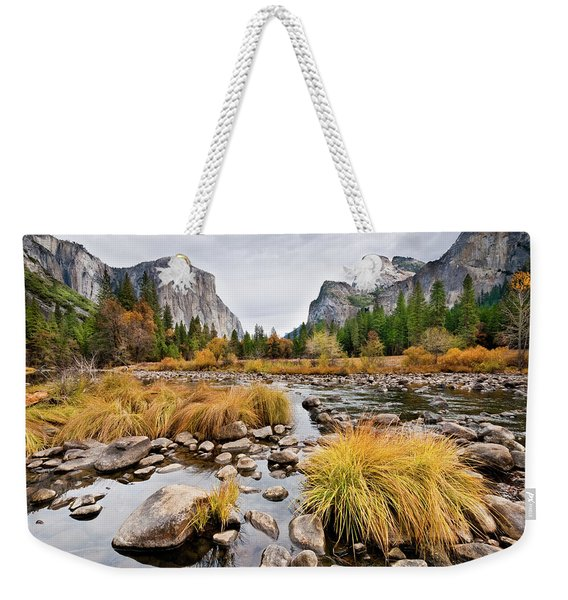 El Capitan And The Merced River In The Fall Weekender Tote Bag