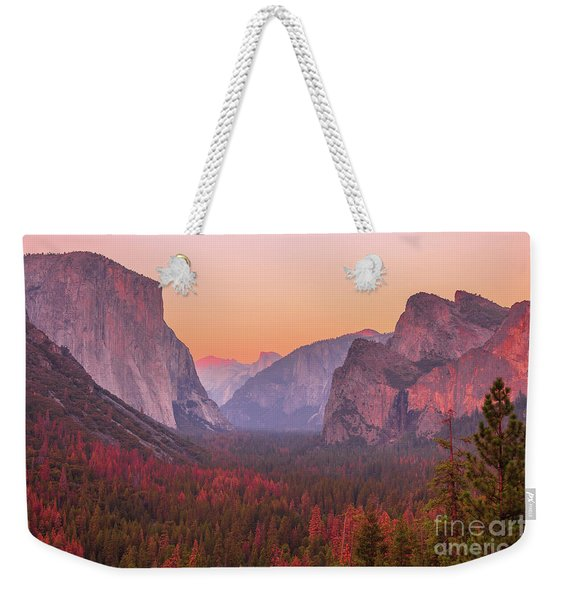 Weekender Tote Bag featuring the photograph El Capitan Golden Hour by Benny Marty