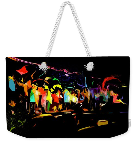 Weekender Tote Bag featuring the digital art Elation by Gina Harrison