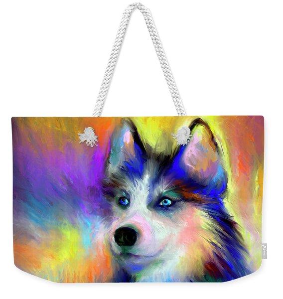 Electric Siberian Husky Dog Painting Weekender Tote Bag