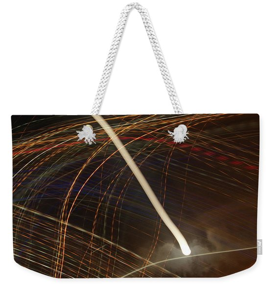 Weekender Tote Bag featuring the pyrography Electric Universe by Michael Lucarelli