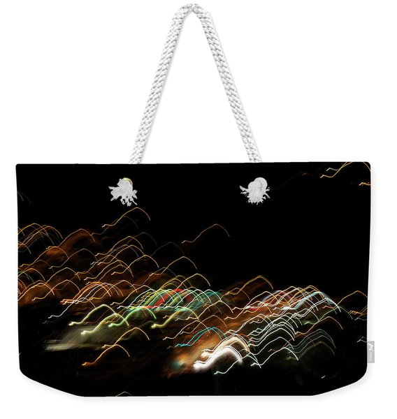 Weekender Tote Bag featuring the pyrography Electronic Landscape by Michael Lucarelli
