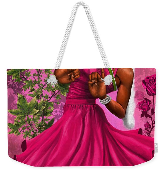 Elegant Pink And Green Weekender Tote Bag